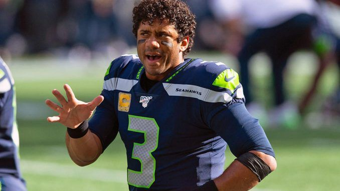 Russell Wilson on the field.