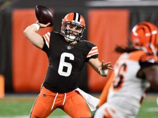 Baker Mayfield throws vs Bengals