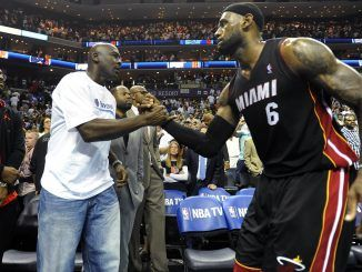 Michael Jordan and LeBron James court side