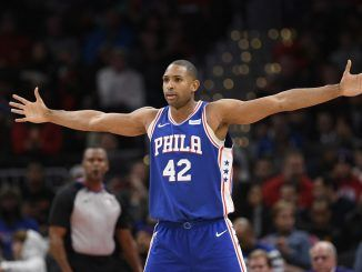 Al Horford celebrates with Sixers