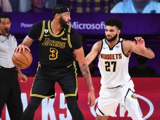 Jamal Murray guards Anthony Davis