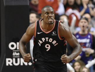 Serge Ibaka celebrates after scoring