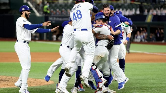 Los Angeles Dodgers celebrate World Series