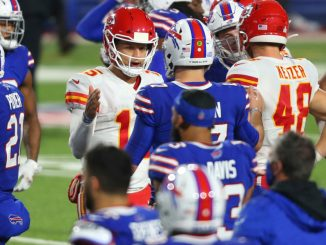 Patrick Mahomes and Josh Allen post game