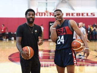 Kyrie Irving and Russell Westbrook with Team USA