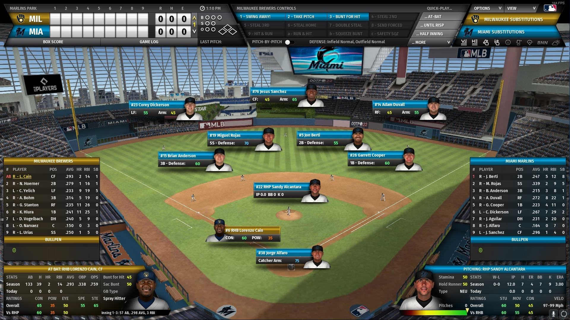 OOTP In-game view